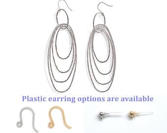 Silver Hoops Titanium Earrings, Dangle Hypoallergenic Earrings, Titanium Earrings, Plastic Hook Earrings, Nickel Free Earrings, Gift For Her