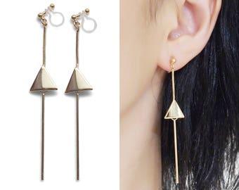 Gold Threader Clip On Earrings, Dangle Long Chain Invisible Clip On Earrings, Triangle Bar Clip Earrings, Non Pierced Earrings