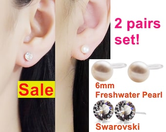 Invisible clip on earrings, 6mm freshwater pearl clip on stud earrings, Swarovski crystal clip-on earrings, non pierced earrings, 2 pairs