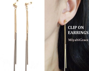 Clip on earrings dangle, gold bar invisible clip on earrings, gold stick clip on earrings, non pierced earrings, clip on earrings