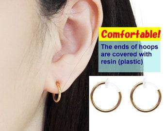 Gold Clip On Hoop Earrings Non Pierced Earrings Red Gemstone Invisible Clip On Earrings Comfortable Agate Clip On Earrings Dangle