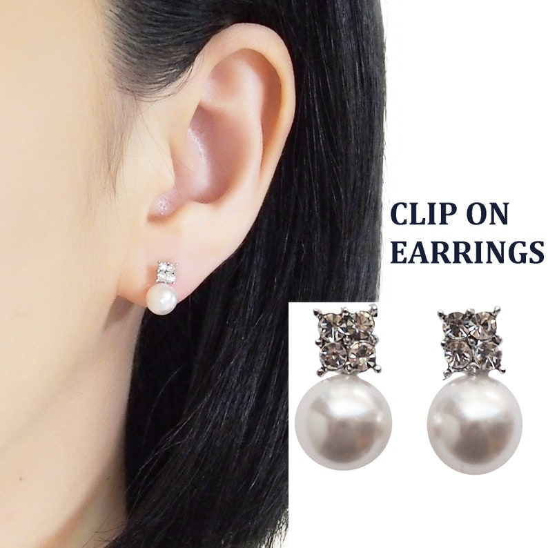 Clip on earrings pearl invisible clip on earrings bridal image 0