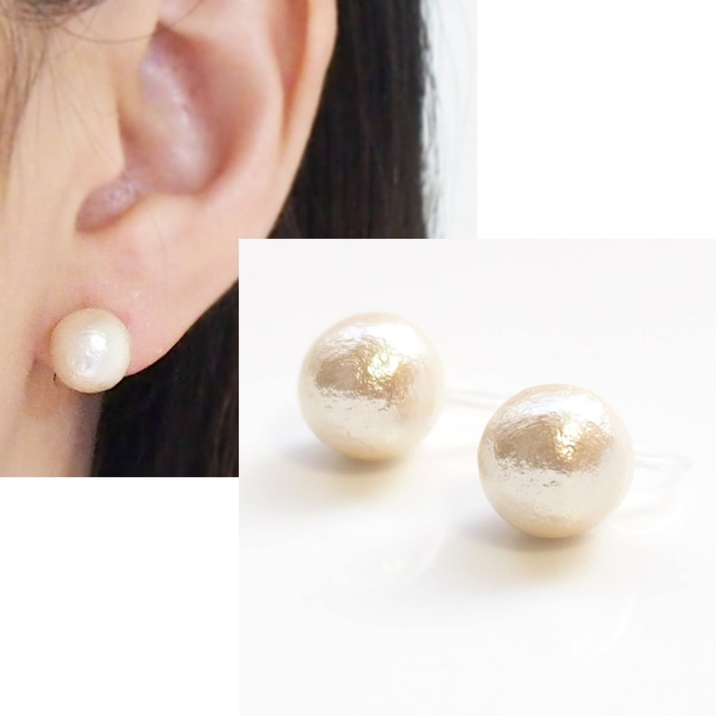 Invisible clip on earrings. bridal cotton pearl clip on stud image 0