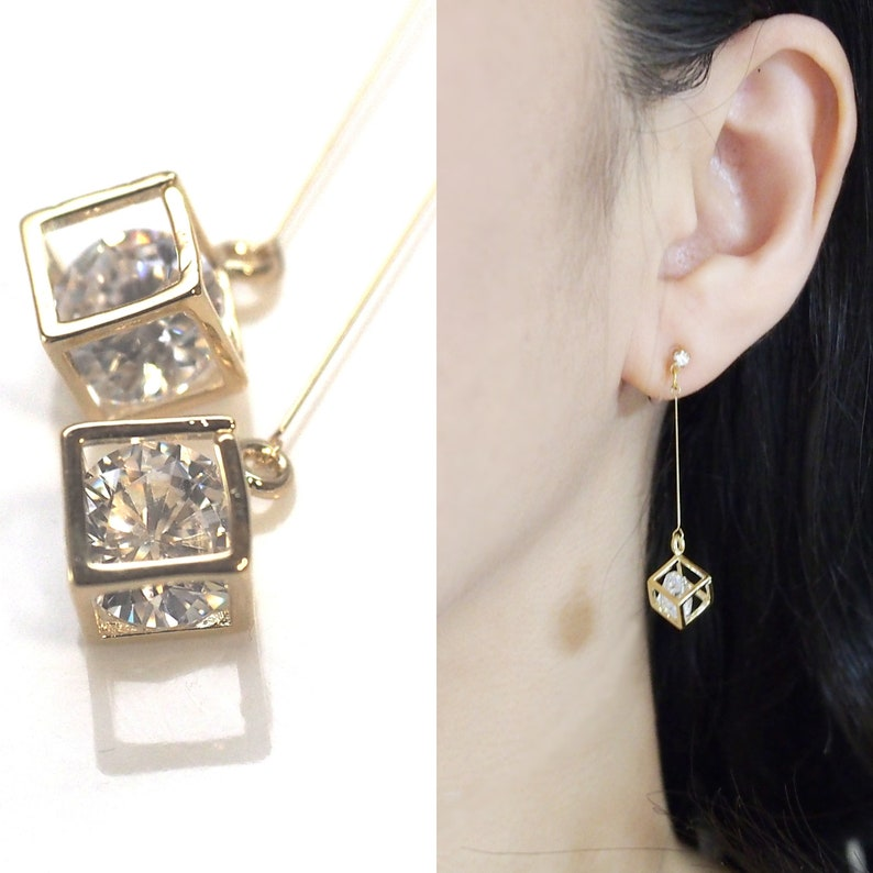 Crystal clip on earrings cubic zirconia invisible clip on image 0