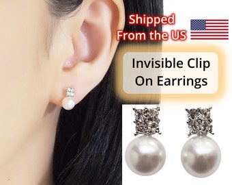Clip on earrings, pearl invisible clip on earrings, bridal pearl clip on earrings, wedding silver crystal clip on stud earrings