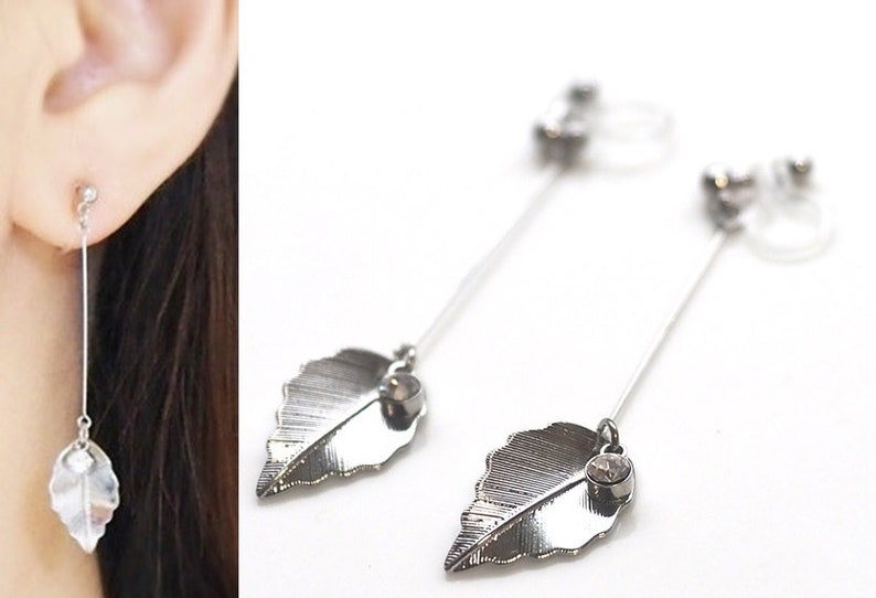 Silver leaf clip on earrings  leaves invisible clip on image 0