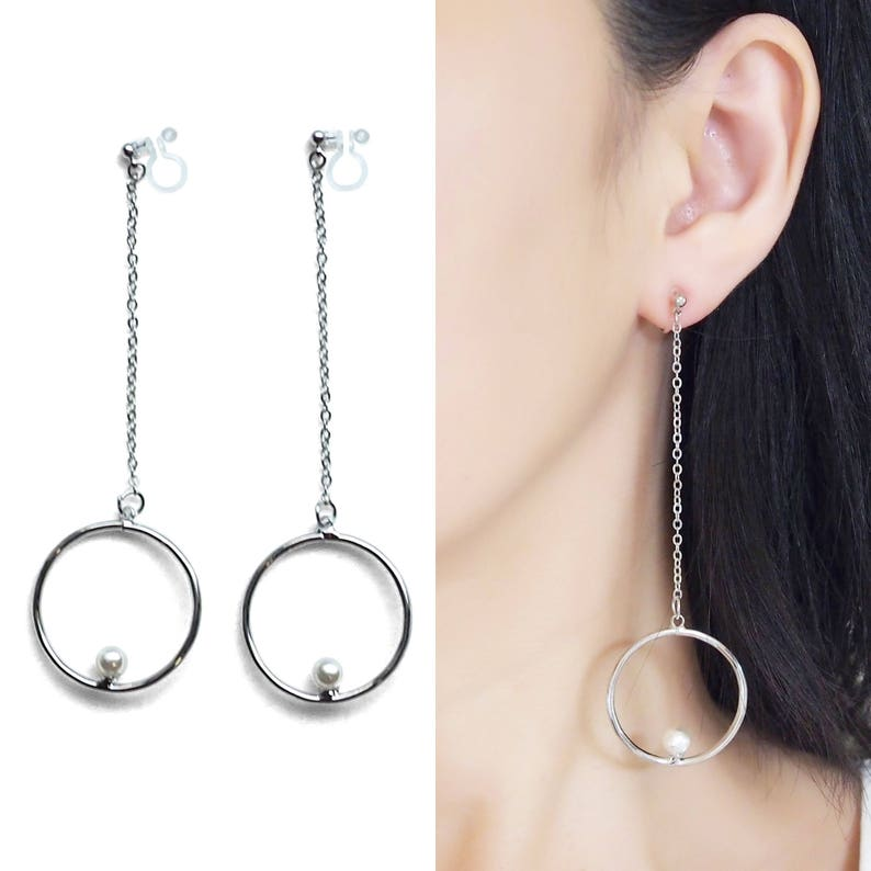 Long Invisible Clip On Hoop Earrings Dangle Silver Chain Clip image 0