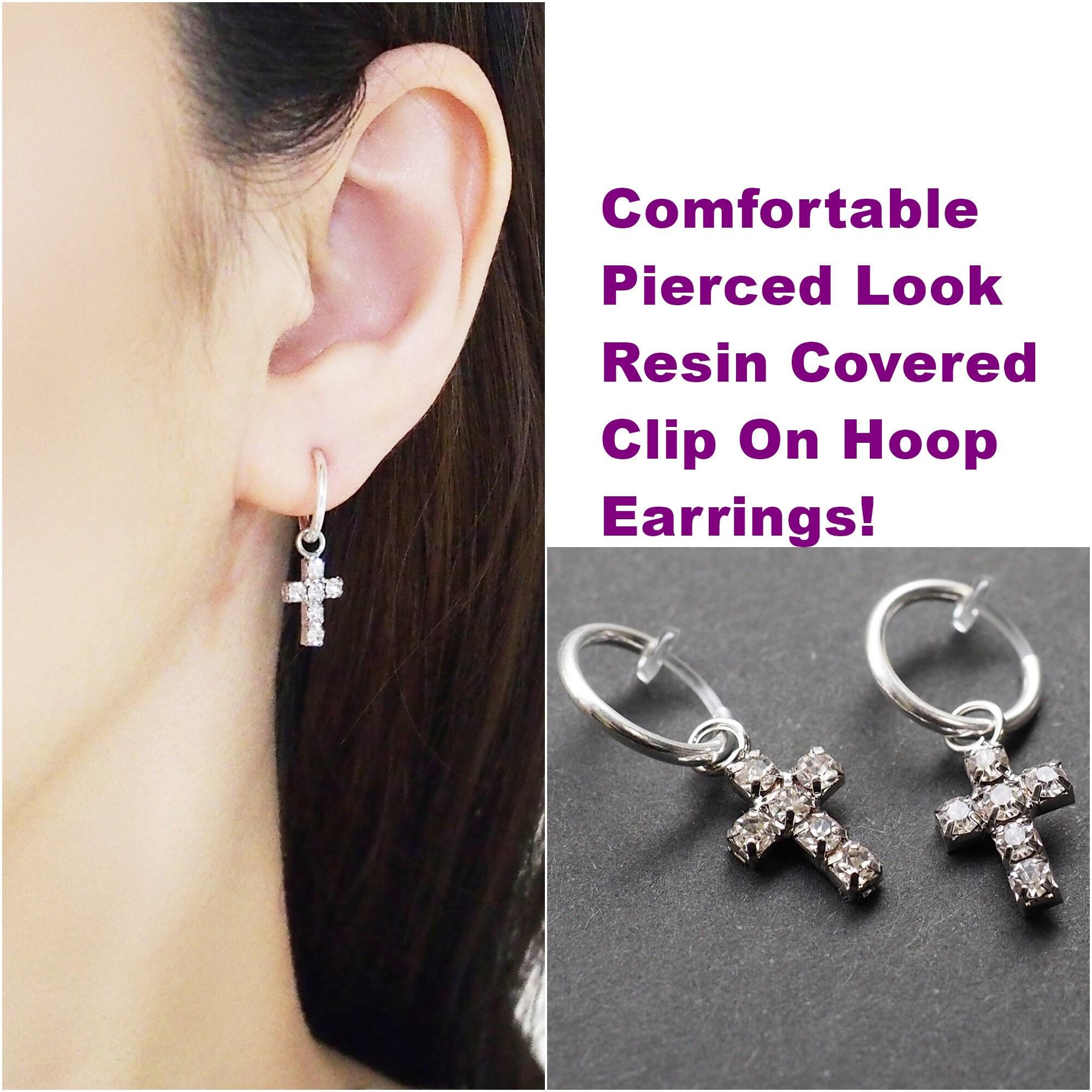 Invisible clip on earrings Blue Resin Earrings