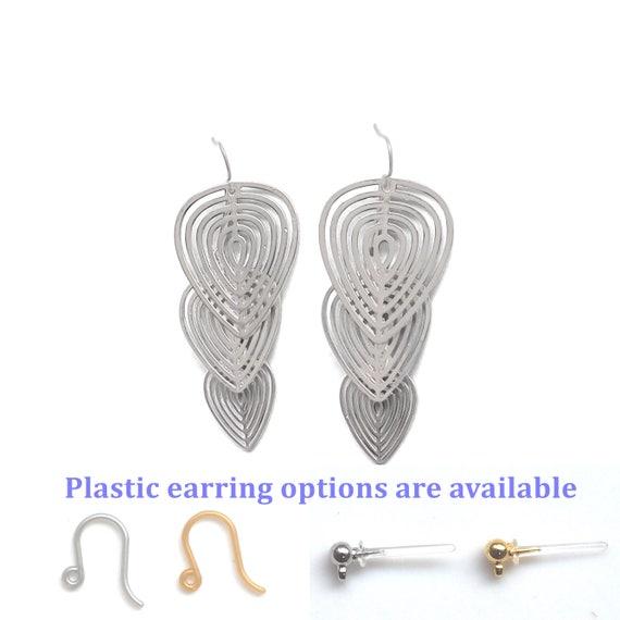 Baumeln Sie Blatt Titan Ethik Kunststoff Silberdraht Ohrringe   Etsy