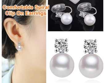 Bridal Shell Pearl Clip On Earrings, Silver Cubic Ziconia Spiral Clip On Earrings, Wedding Crystal Non Pierced  Gold Clip On Stud Earrings