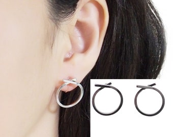 Circle Invisible Clip On Earrings - Clip On Hoop Earrings - Silver Stud Clip Earrings - Knot Small Clip On Earrings - Non Pierced Earrings