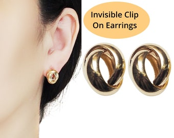 Knot Clip On Earrings, Gold Hoop Invisible Clip On Stud Earrings, Elegant Minimal Clip-on Earrings, Non Pierced Earrings