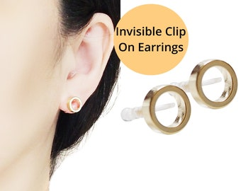 Gold Clip On Earrings, Open Circle Invisible Clip On Stud Earrings, Elegant Hoop Clip-on Earrings, Non Pierced Earrings