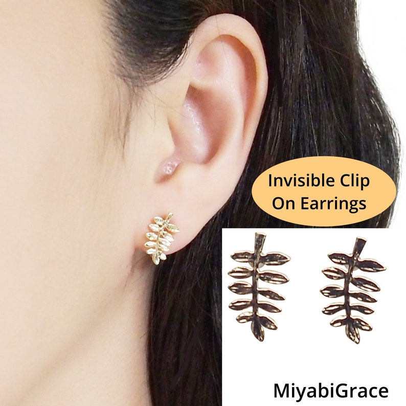 Tiny olive leaf clip on earrings studs gold invisible clip on image 0