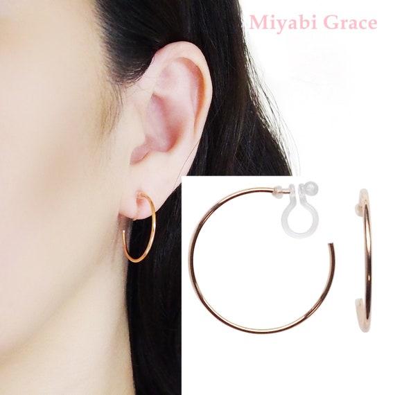 CLIP-ON EARRINGS ROSE GOLD CRYSTAL HOOP EARRINGS 2.5 INCH or 2 INCH HOOPS
