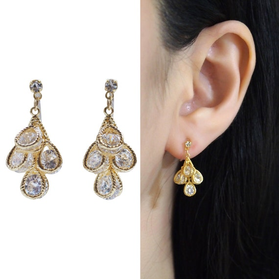 Dangle CZ Crystal Invisible Clip on Earrings Cubic Zirconia Gold Clip-ons
