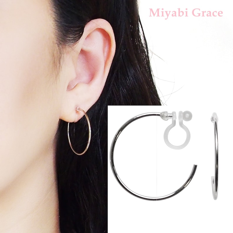 Silver clip on hoop earrings hoops clip on earrings 30 mm Silver