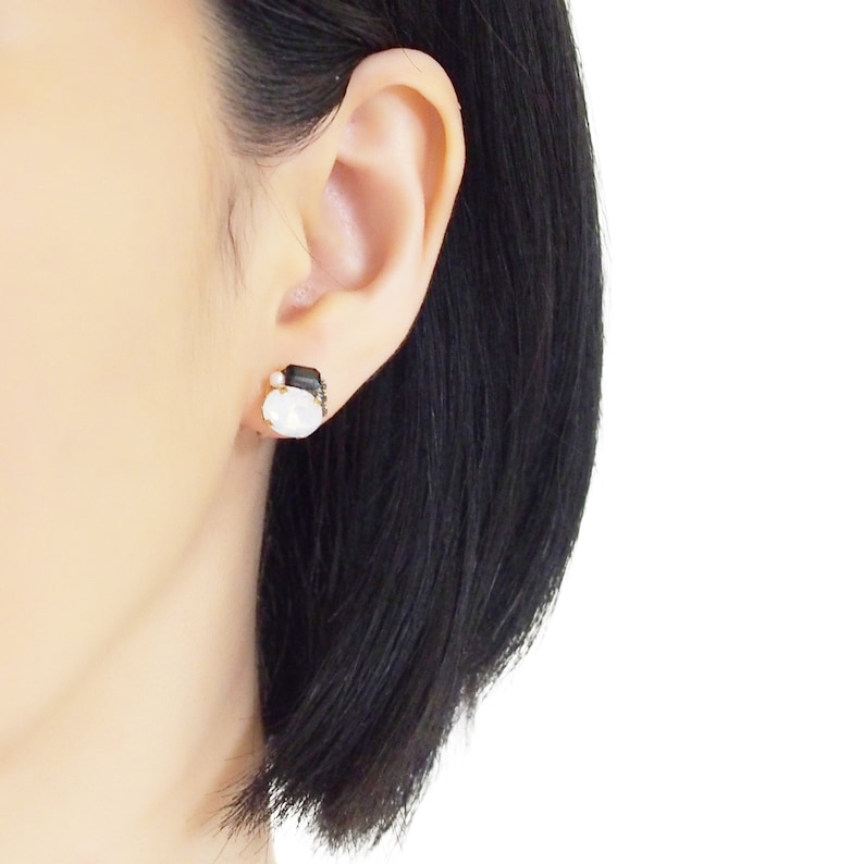 White Crystal Clip On Earrings Comfortable Black Clip On Stud Earrings Rhinestone Invisible Clip On Earrings Non Pierced Earrings