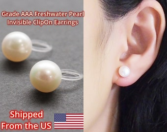 Freshwater pearl clip on earrings Grade AAA, bridal white pearl invisible clip on earrings, wedding pearl clip on stud non pierced earrings