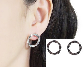Clip On Hoops Earrings Silver Round Invisible Clip On Stud Earrings Non Pierced Earrings Flower Shaped Circle Clip Earrings Gift For Her