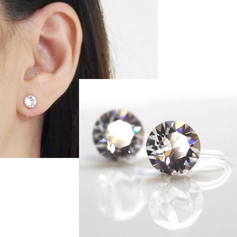 Swarovski Crystal clip on earrings Swarovski wedding invisible image 0