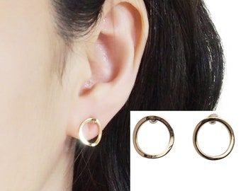 Gold Open Circle Invisible Clip On Earrings, Hoop Clip On Stud Earrings, Gold Non Pierced Earrings, Tiny Round Clip-On Earrings