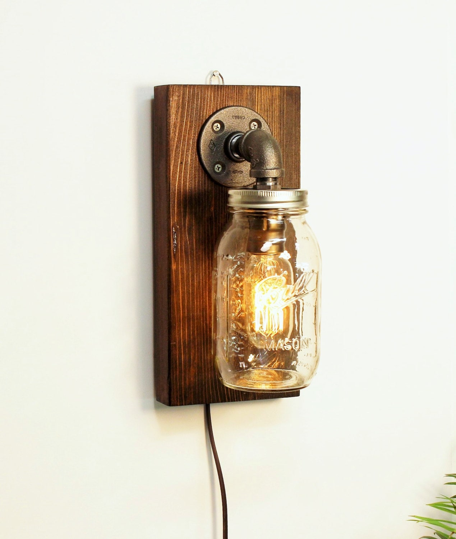 Rustic Industrial Modern Handmade Mason Jar Chandelier Rustic: Mason Jar Sconce Lamp/Rustic Home Decor/Sconce Lamp
