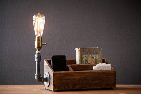 Rustic Desk Organizer Lamp Docking Station Rustic Home Decor Steampunk Lamp Table Lamp Edison Light Vintage Light Pipe Lamp Bedside Lamp