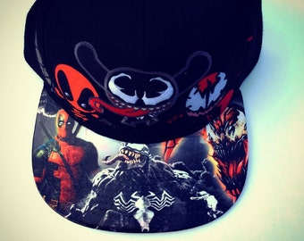 Deadpool, Carnage, and Venom Marvel Comics Snapback Cap  Juniors Embroidered and Adult Size Customized on the BillModified