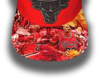 Chicago Bulls Authentic Mitchell & Ness Snapback Cap with Custom Brim-Custom | Elite Duo | The Greatest of All Time |Hat-Men's