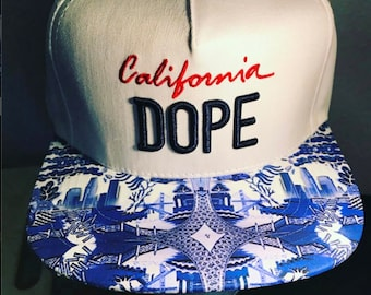 Dope California Snapback  China Style Cali Style PrintOnly One Left Men's HatCustom HatModified Personalized