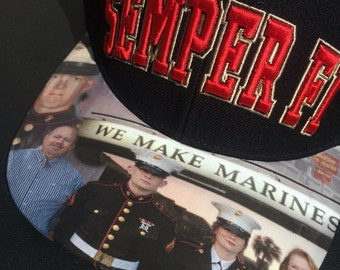 Marine Snapback  Personalized Tribute Image on the BillModified Personalized