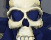 Leather Skull Death Mask Full Face Handmade Painted Scary Creepy Halloween Mardi Gras Carnival Cosplay