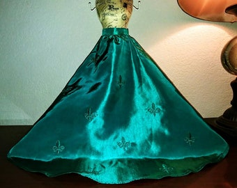 Turquoise Fleur de Lys Tafetta Skirt - SD Size