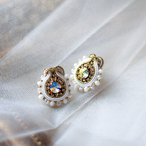 bridal drop earrings Wedding earrings for brides soutache white bridal earrings crystal crystal wedding earrings exclusive earrings