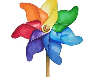 Watercolour Pinwheel Art Print