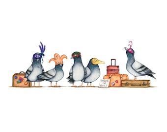 Venice Pigeons Watercolour Art Print