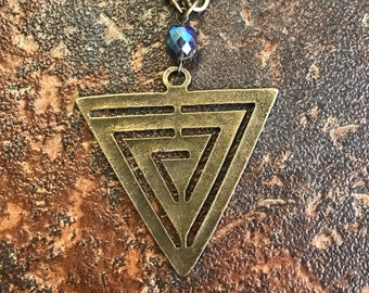 Antique Brass Triangle Necklace