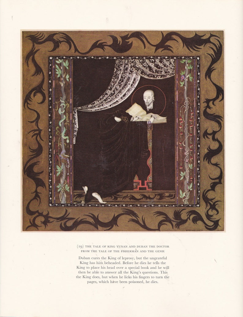 Gorgeous And Striking Colors Perfect for Home Decor Wall Hanging Kay Nielsen Print Book Plate Vintage Art Print Art Deco Nouveau Design