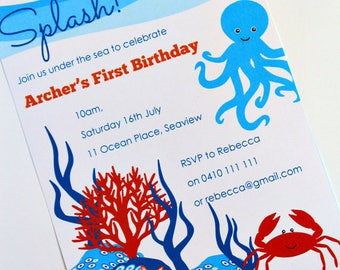UNDER the SEA INVITATIONS, Personalized Under the Sea Birthday Party, Diy Printable invite, Under the Sea theme, Octopus birthday invitation