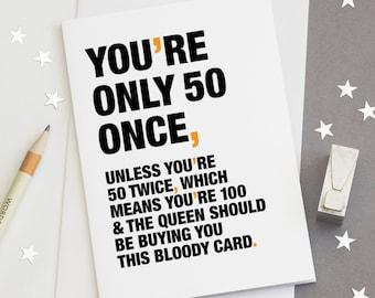 Funny 50th Birthday Card 50