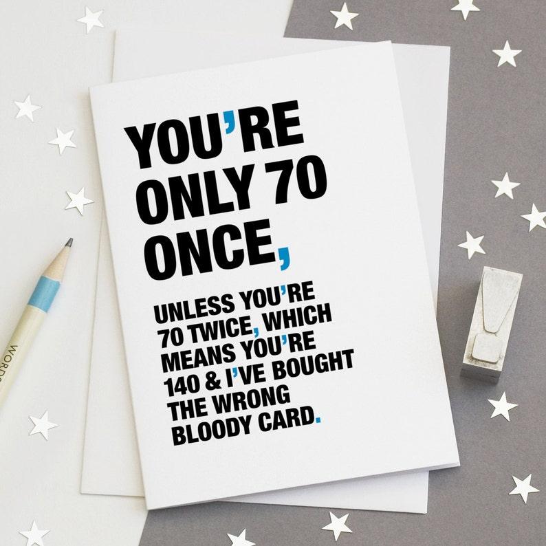 70th Birthday Card Funny Sarcastic