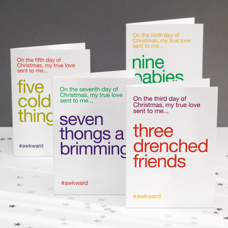 Funny Christmas Card Pack - Wordplay Christmas Card Pack - Alternative  Christmas Cards - Funny 12 Days of Christmas - FREE UK DELIVERY