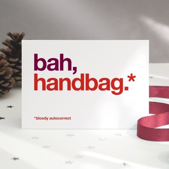 Funny Christmas Cards Bah Handbag Christmas Card Pack Bah | Etsy