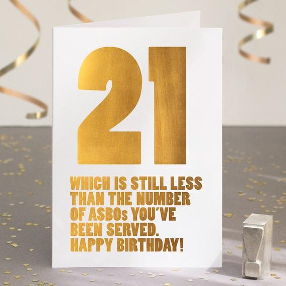 Funny 21st Birthday Card Sarcastic 21st Card Happy 21st Etsy