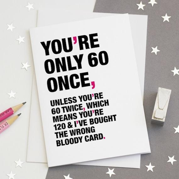 60th Birthday Card Funny Sarcastic
