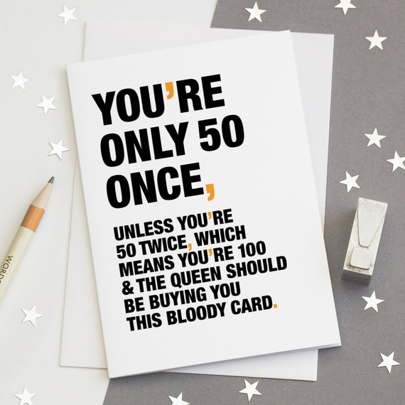 50th Birthday Card Funny Sarcastic