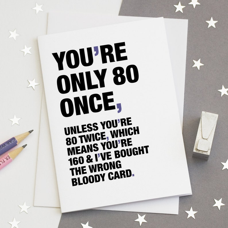80th Birthday Card Funny 80