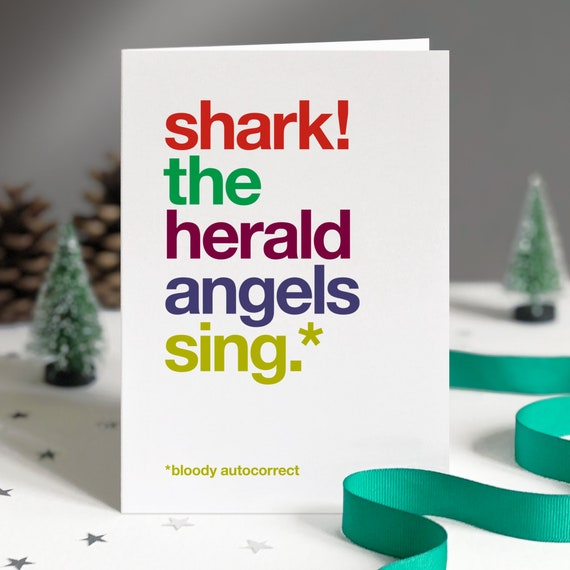 Humorous Christmas Card, Funny Christmas Cards, Christmas Card Pack,  Christmas Carols, Funny Autocorrect Greetings Cards \u2013 FREE UK DELIVERY