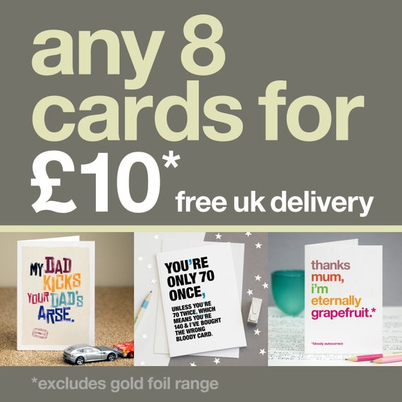8 Card Bundle Pack Funny Birthday Cards Sarcastic Cards Etsy